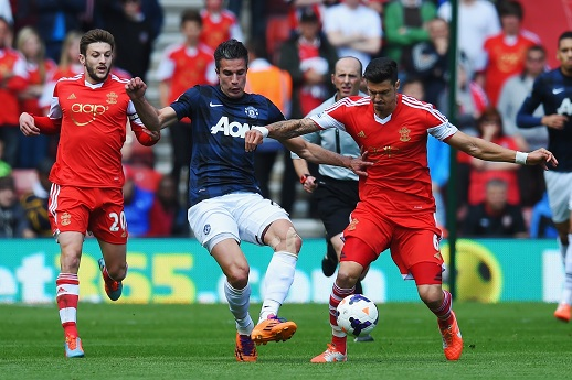 during the Barclays Premier League match between Southampton and Manchester United at St Mary's Stadium on May 11, 2014 in Southampton, England.